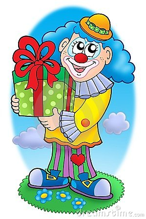 Smiling clown with gift