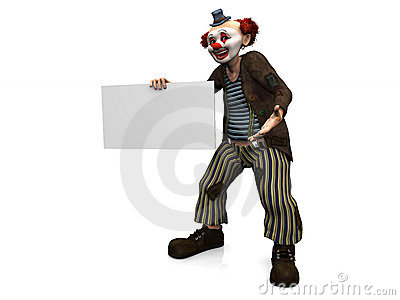 Smiling clown holding blank sign.