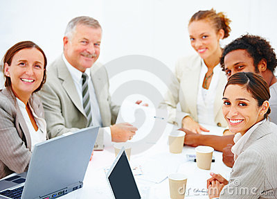 Smiling colleagues having a business meeting