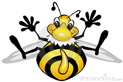 Smiling comic bee
