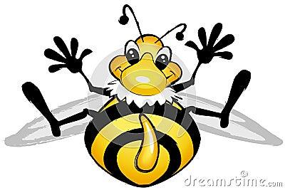 Smiling comic bee