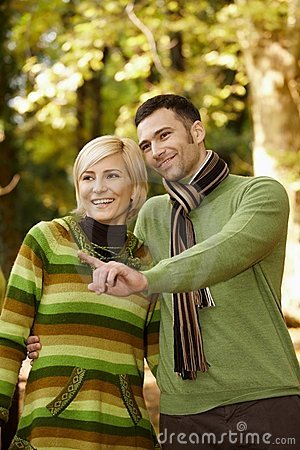Smiling couple on autumn walk