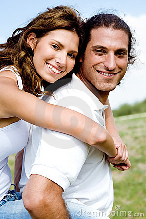 Smiling couple fooling around