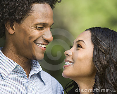 Smiling couple portrait.