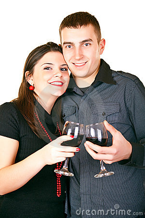 Smiling couple with red wine