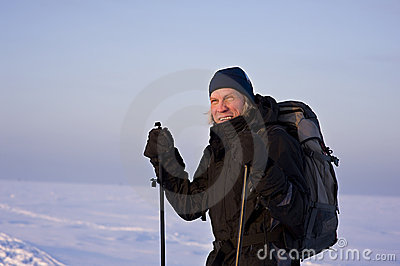 Smiling cross-country skier