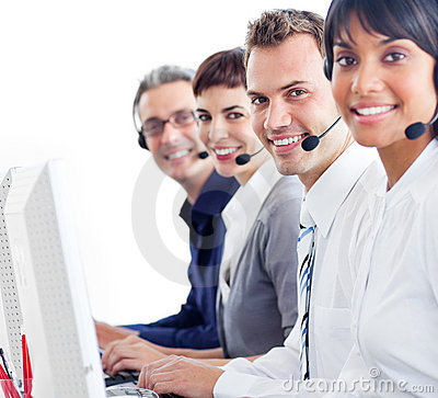 Smiling customer service representatives with head
