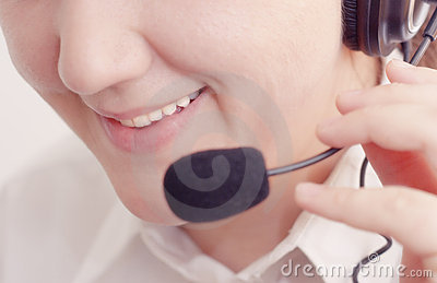 Smiling customer support operator