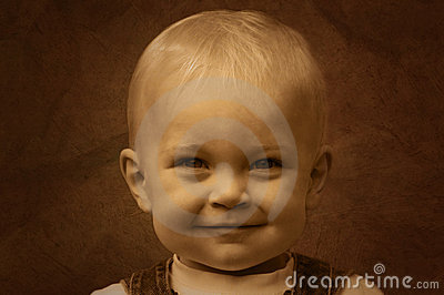 Smiling Cute Kid Sepia Royalty Free Stock Photography - Image: 6592377