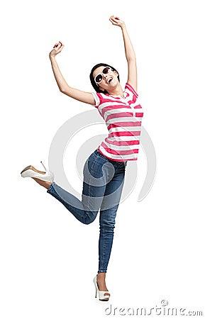 Smiling dancing teenager