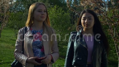 Smiling diverse girls taking a walk in spring park stock video footage