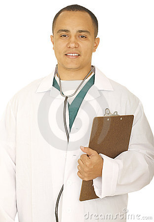 Smiling Doctor Holding Clip Board