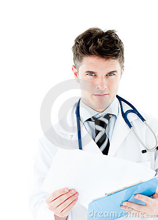 Smiling doctor holding pen