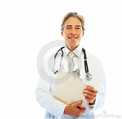Smiling doctor holding a writing pad on white