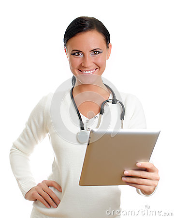 Smiling doctor with tablet pc.