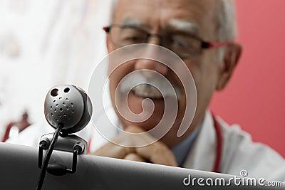 Smiling Doctor using webcam