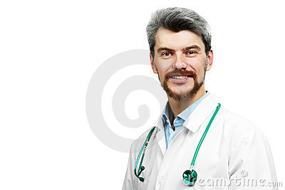 Smiling doctor in white overall with stethoscope