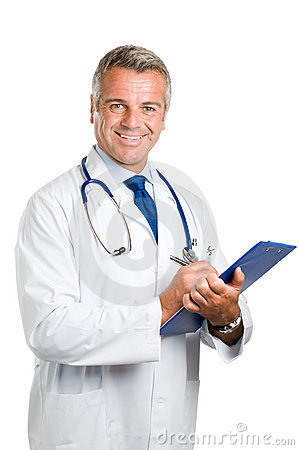 Smiling doctor at work