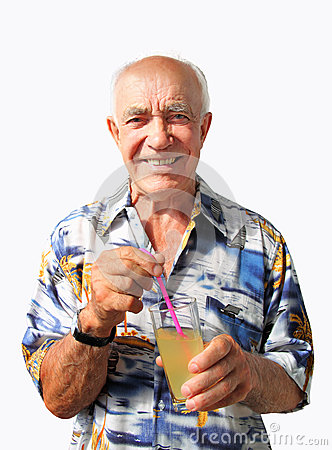 Smiling Elderly Man with Coctail