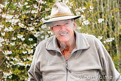 Smiling Elderly Man Outside