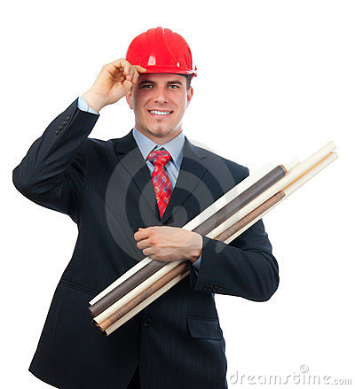 Smiling engineer with hard hat and blueprints