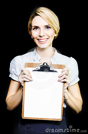 Smiling enthusiastic woman holding blank clipboard