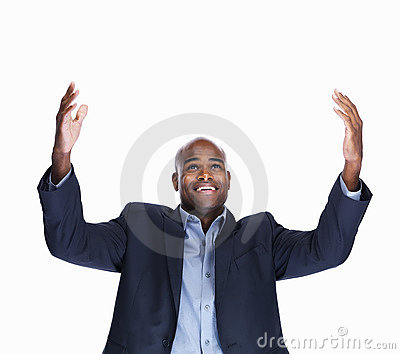 Smiling entrepreneur with extended arms