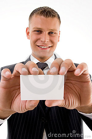 Smiling executive holding business card