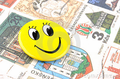 Smiling face and stamps