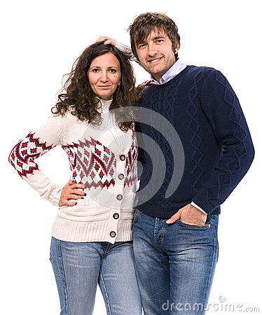 Smiling family  couple in sweaters