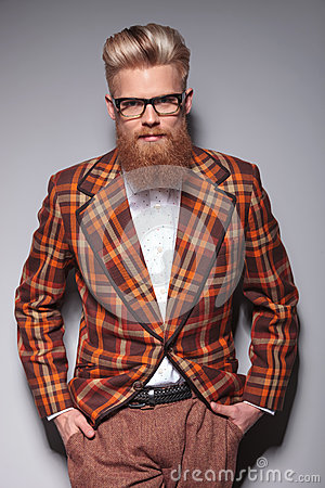Smiling fashion model with long beard