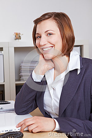 Smiling female chief executive