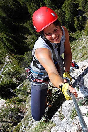 Smiling female climber
