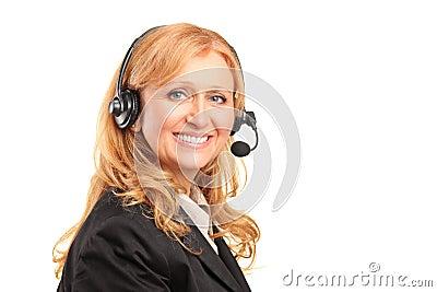 Smiling female customer service operator