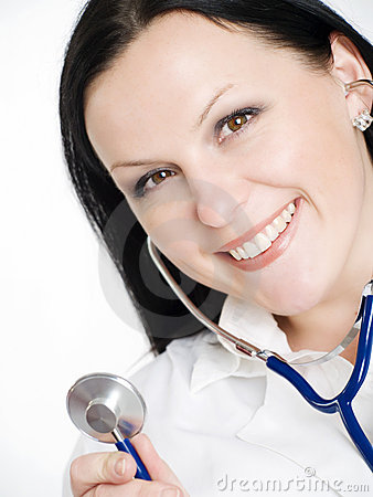 Smiling female doctor woman holding stethoscope