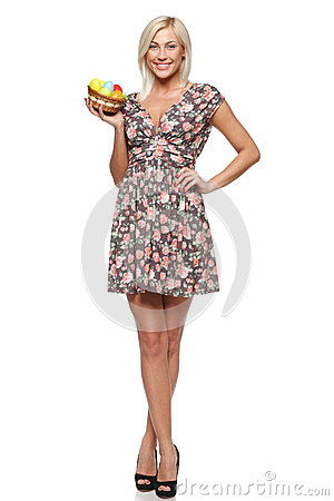 Smiling female with Easter eggs