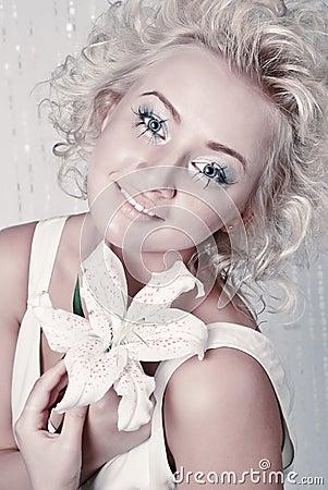 Smiling female with original make up