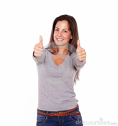 Smiling female showing positive sign with fingers