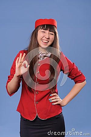 Smiling flight attendant