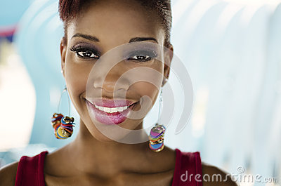 Smiling friendly faced African American woman