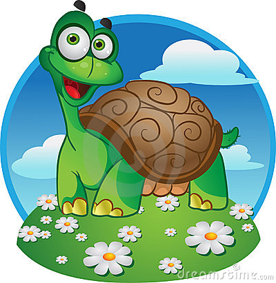 Smiling fun tortoise on a color background