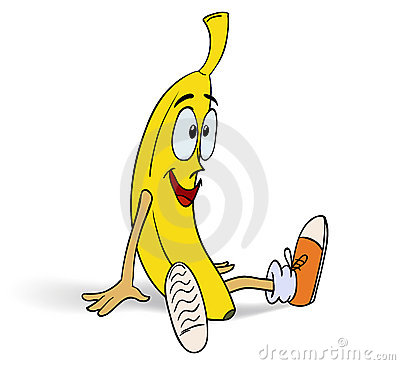 Smiling funny Banana in sneakers