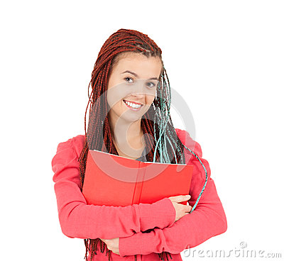 Smiling girl with african plaits keeping book