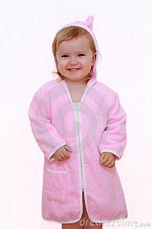 Smiling girl in bathrobe