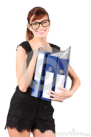 Smiling girl in big glasses holds three folders