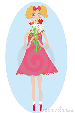 Smiling girl with bunch of flowers