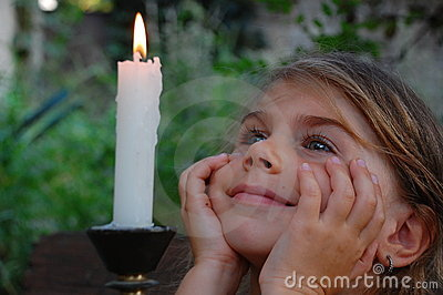 Smiling Girl and candle