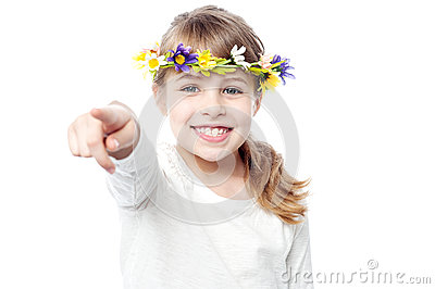 Smiling girl with flower crown