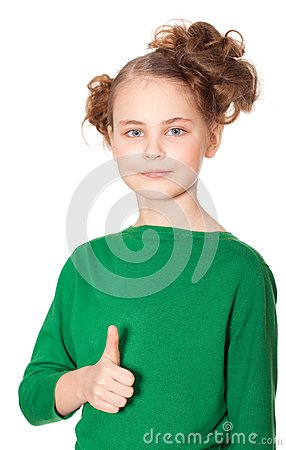 Smiling girl gesturing ok sign