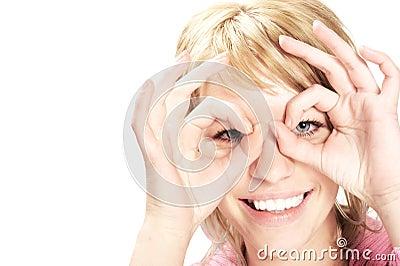 The smiling girl in glasses